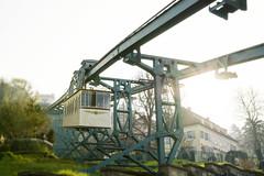 Dresdner Schwebebahn (OnkelKrischan) Tags: dresden bahn sonne sonnenaufgang morgen sonnenstrahlen fahrzeug schwebebahn dresdner dvb loschwitz dvbag dresdnerverkehrsbetriebeag
