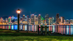 City View Bench (Justin in SD) Tags: city color reflection grass night dark bench walking lights bay downtown cityscape sandiego path sony sd citylights rest hdr sandiegobay downtownsandiego sonyalpha sonyimages 32bithdr sonya7rii a7rii a7r2