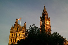 Manchester Town Hall in sunset light