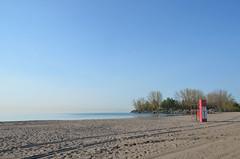 spring morning beach (mcfcrandall) Tags: morning trees toronto beach water spring sand lakeontario hazy groomed lifeguardstation waitingforsummer