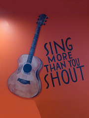 Sing More Than You Shout (Steve Taylor (Photography)) Tags: city light shadow newzealand christchurch orange brown streetart art wall painting graffiti mural guitar canterbury sing nz acoustic southisland cbd shout