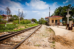 Tracks to Hanoi. (Q|arts Photography) Tags: sky house hot tree clouds train rocks crossing stones wide traintracks surreal railway windy sunny bluesky vietnam journey wires poles bushes langson dongdang vables