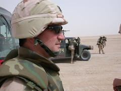 Army Dental Company Moving through the desert of Kuwait (DrBrianHale) Tags: bus smile tooth army moving pain war desert dr military brian teeth iraq company health guns makeover kuwait humvee dentist dentistry hale cpt escort griggs rootcanal dds endodontist