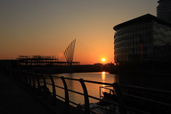 Salford Quays by night (Rob Hooley) Tags: city sunset by night canon manchester eos media no bbc handheld 5d studios filters salford quays mark2