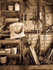 Bobs Shed (Jason Milich) Tags: blackandwhite bw antique garage monotone tools oldbuilding sed httpswwwflickrcomphotosjasonmilich
