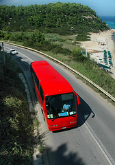 Reisebus Küstenstraße Chalkidiki Griechenland