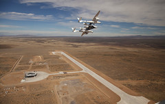 SpaceShipTwo-and WhiteKnight2 at Spaceport America in Upham, New Mexico