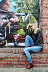 Thinking (tronsmeds) Tags: school cute girl fashion norway photoshop photography cool model norwegian jeans canoneos600d