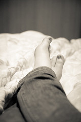 "Day 170: ""Putting My Feet Up"" (FallingLeavesPhotography) Tags: blackandwhite woman feet girl up work relax foot nice bed toes pants working relaxing july jeans busy 365 170 2012 day170 366 stephaniewillis fallingleavesphotography"