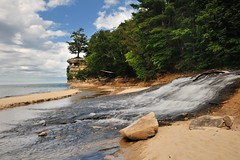 """Chapel Beach"" Pictured Rocks National Lakeshore (Michigan Nut) Tags: sky usa nature clouds river landscape waterfall michigan waterfalls lakesuperior picturedrocksnationallakeshore johnmccormick chapelrock michigannutphotography chaperlbeach"