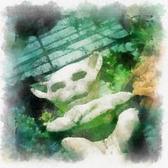 Gargoyle Amongst Foliage (Mandolina Moon) Tags: painterly watercolor surreal gargoyle fantasy devil creature imp statuette iphoneart autopainter iphoneography hipstamatic mandolinamoon