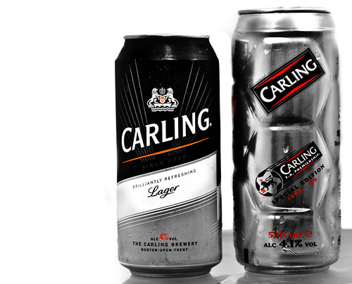 2012 and 1998 Can of Carling Lager.