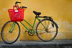 Hoi An Bike - Explored (davidkoiter) Tags: travel red green texture bike bicycle yellow wall canon eos basket vietnam hoian 7d l series f4 1740 2012 f4l koiter davidkoiter