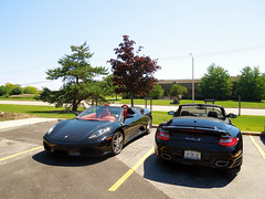 Black On Black (Hertj94 Photography) Tags: lake black public june spider illinois italian nikon zurich s ferrari exotic turbo german porsche spotted 2012 f430 combo cabriolet 997 worldcars s8200