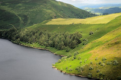 Welsh Retreat. By R J Watson (Ray~Watson) Tags: blue vacation lake holiday green walking landscape nikon scenery view panoramic reservoir fields colourful patchwork f28 hicking 2470mm lakeclywedog beautifulpretty d7000