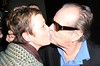 "Jack Nicholson leaving The Wolseley restaurant in Piccadilly. As he was getting into his car a passerby shouted out ""Jack can you kiss my mother, she is a huge fan"" to which Jack responded by kissing the woman passionatley on the lips! London, England"