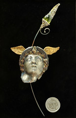Hermes II. Sculpture in wall mount with removable brooch pin. (Alan Samons) Tags: sculpture art pin handmade ooak brooch craft jewelry frog jewellery polymerclay hermes patina oilpaint goldleaf pmc peridot gemstone artclaysilver finesilver metalclay