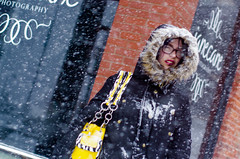 (Casey Meshbesher Photographic) Tags: winter minnesota sign words store candid streetphotography snowing duluth