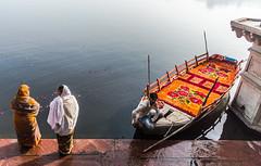 Yamuna River Ghat | Mathura,India (vjisin) Tags: travel food woman india texture water river nikon women asia ritual prayers boatman ghat mathura nikond3200 travelphotography indianwoman yamuna chennaiweekendclickers nikonofficial cwc497