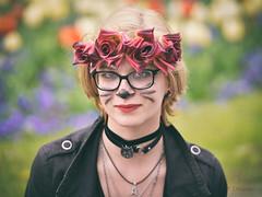 Ola - Stranger #12/100 (dziurek) Tags: flowers portrait woman flower beauty smile face rose cat hair glasses nikon poland stranger blonde d750 100 12 fx ola pinted dziurek dziurman pdziurman