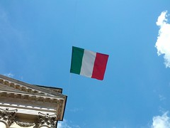 ITALIA into the blu and the art. (ricciatop) Tags: italia italy flag bandiera tricolore sky 25aprile