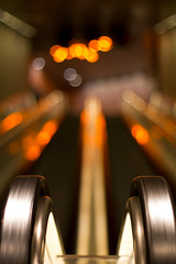 escalator (Andreas Hagman) Tags: light orange white dof sweden bokeh empty escalator nopeople colourful scandinavia malm mllan triangeln citytunneln sal50f14 bokehbubbles sonyslta77