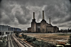 Battersea Power Station (mendhak) Tags: railroad london abandoned station power ghost tracks railway haunted desaturated battersea iconic hdr destitute urbexing mendhakwebsite