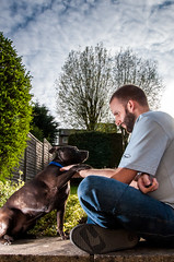 Me and my Dawg (Paul Scott Thomas) Tags: dog smog nikon fatdog mansbestfriend staffy emcee stafforshirebullterrier offcameraflash nikond90 sb700 paulscottthomas paulscottthomasphotography