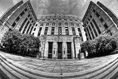 Courthouse HDR (Bradley Nash Burgess) Tags: blackandwhite bw white black monochrome al birmingham nikon alabama fisheye jefferson bandw 8mm hdr highdynamicrange topaz birminghamal jeffersoncounty photomatix jeffersoncountycourthouse d80 nikond80 rokinon topazadjust rokinon8mm rokinon8mmfisheye