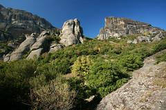 Meteora Landscape (Katka B.) Tags: autumn wild sky mountain mountains green nature up rock forest landscape path unesco greece reservation meteora kalambaka