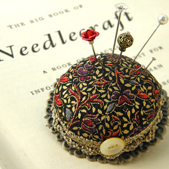 Black and Gold Medieval Pincushion Brooch (Wychbury Designs) Tags: uk bronze bottle top sewing brooch craft william pins medieval tudor fabric cap pincushion morris etsy wearable needles cushion renaissance scroll folksy wychbury