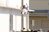 Mark Wahlberg stunt double films a chase scene for the movie 'Pain and Gain' Miami, Florida