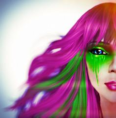 Dynamic Strange (▓▒░ TORLEY ░▒▓) Tags: pink wild orange color green eye contrast hair photo neon teal linden profile hologram watermelon secondlife paints torley lindenlab