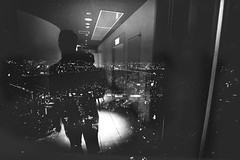 (skidu) Tags: portrait white black film glass japan self reflections angle wide osaka 1116 tonika