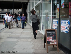 `642 (roll the dice) Tags: uk portrait people urban woman london art classic westminster fashion shopping asian scary funny pretty natural boots head camden candid magic ghost chinese strangers streetphotography creepy unknown roll scared mad w1 tottenhamcourtroad centrepoint unaware londonist crossrail