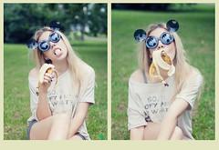 Banana? Yes, please! (Aelitha) Tags: morning portrait girl grass sunglasses breakfast canon fun diptych banana blonde