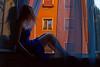 La finestra di fronte (Fabio Sabatini) Tags: blue red italy rome roma window girl wall dress curtain blond rossana casadiluca
