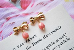 Coral Pink Ribbon Stud Earrings (missbabacilu) Tags: pink party cute floral fashion coral gold book colorful pretty shine tea girly jewelry bow romantic ribbon earrings delicate posts sparkling studs pinkish