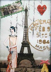 ATC1041 - France's Iron Lady (tengds) Tags: orange woman france atc collage gray eiffeltower papercraft recycledpaper handmadecard tengds