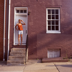 (patrickjoust) Tags: street city people urban woman usa house southwest color 120 6x6 tlr film home festival analog america square lens person us reflex md focus fuji mechanical united north patrick twin maryland slide row baltimore mat 124 doorway chrome medium format states manual expired 80 joust fujichrome e6 yashica 220 estados astia 80mm 100f f35 hollins reversal unidos yashinon sowebo autaut patrickjoust