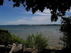 Peering Across Lake Erie (Jordon Slaght) Tags: blue trees sky white lake ontario canada beach water clouds rural port turkey point long frame erie dover brantford jordon rooted slaght