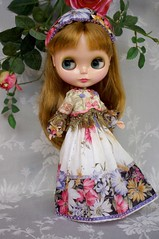 For Annie  Russian Senteurs  (kikihalb) Tags: floral set scarf beads outfit ribbons doll dress russia handmade sewing border silk inspired fringe clothes jacket blythe gown handkerchief gibson tailor headband tg brocade embroideries hanky lampas