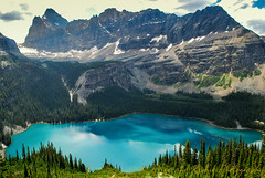 A lake is a landscape's most beautiful and expressive feature. It is Earth's eye; looking into which the beholder measures the depth of his own nature. Henry David Thoreau, Walden (Priya and Archie Photography) Tags: lake mountains lakeohara canadianrockies yohonationalpark wiwaxygap