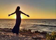 Sun goddess (Mabry Campbell) Tags: ocean sunset orange woman water silhouette mexico person photography coast photo foto fav50 fav20 nayarit coastal february puntamita fav30 mx iphone 2014 fav10 fav40 fav60 fav80 fav70 rivieranayarit imabe snapspeed mabrycampbell fourseasonsresortpuntamita