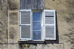 Half open window (Jan van der Wolf) Tags: france window wall decay dirty shutters shutter raam vies muur verval vuil blinden map128312v
