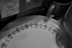 Melmac (BKHagar *Kim*) Tags: bw monochrome vintage design dish plate plastic dishes fleurdelis melmac bkhagar