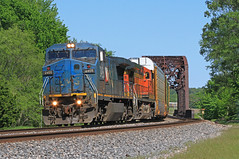 Blue Devil Invasion (Conductor Cronk) Tags: santa railroad blue trees sun green nature rock train landscape illinois scenery steel central railway canadian foliage national rails devil vehicle motor noon fe leafy bnsf rolling rollinghills junker ballast conrail lms hhill
