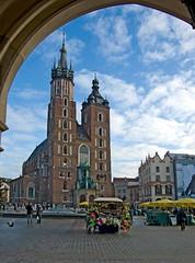 Church Mariacki (madejski.janusz) Tags: city travel tourism church st architecture basilica arcade poland medieval historic unesco marys lanterns krakw marketsquare dothhall
