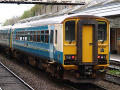 An Arriva Trains Wales Class 153 (and 158) at Shrewsbury (Steve Hobson) Tags: dylan wales thomas trains class shrewsbury nameplate arriva 153 dmu