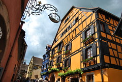 Riquewihr, France (elfcvk) Tags: riquewihr colmar alsace france medieval village old ancient antique yellow half timbered wooden